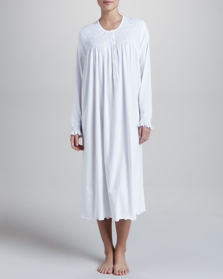 Thais Smocked Jersey Nightgown