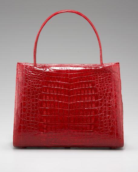 Crocodile Squared Tote, Red