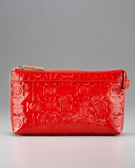 Embossed Cosmetic Bag, Red