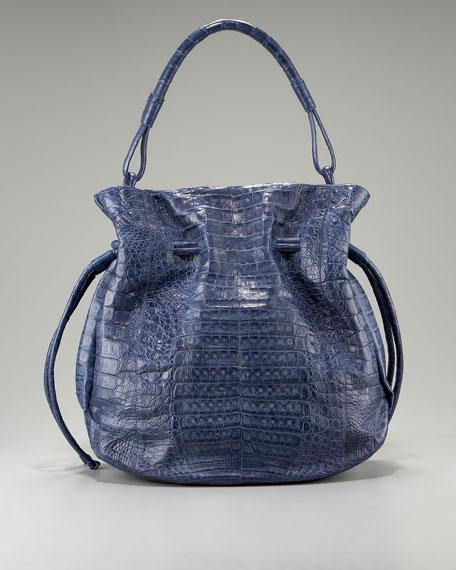 Crocodile Drawstring Bag, Large
