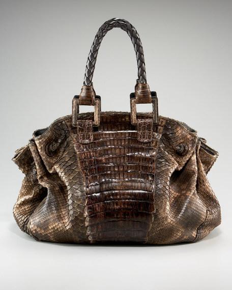 Caiman and Python Oversize Shoulder Bag