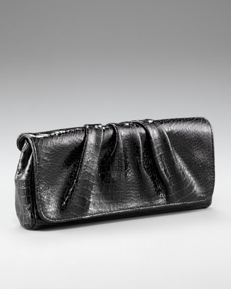 Caroline Shiny Croc-Embossed Clutch, Black