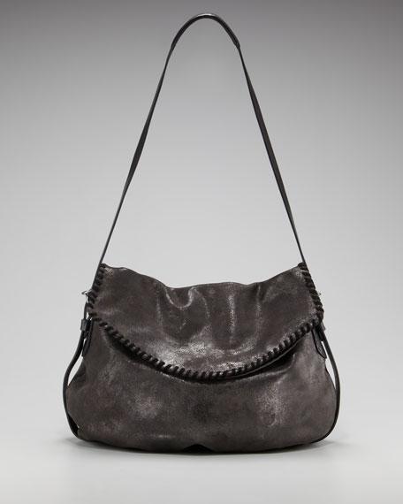 Shimmer-Suede Messenger Bag
