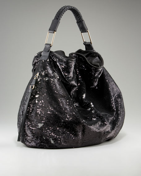 Sequined Leather-Trim Hobo