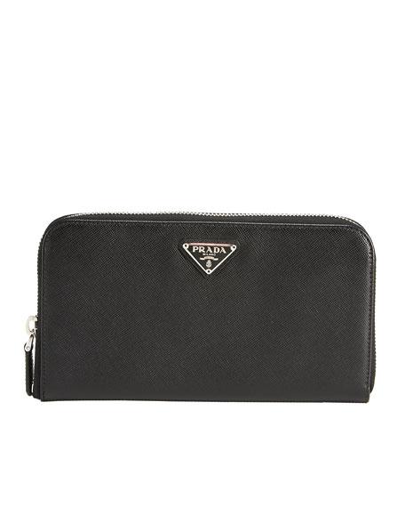 Saffiano Leather Zip-Around Wallet