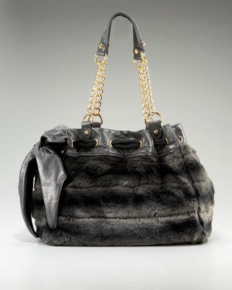 Luxe Day Dreamer Tote, Black/Gray Faux Fur