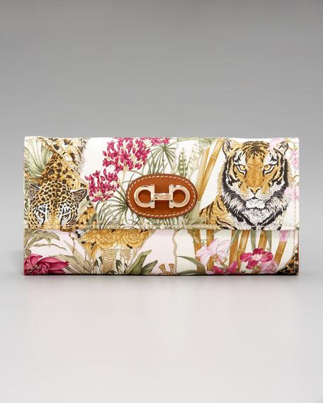 Jungle Scarf-Print Flap Wallet