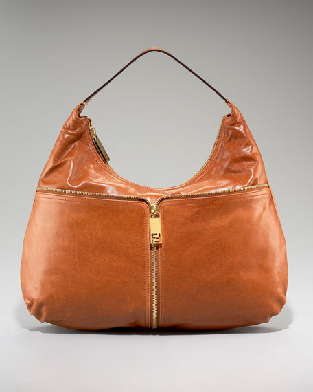 Fendi Unzipped Leather Hobo
