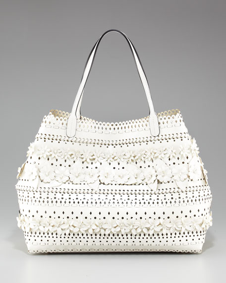 Fany Woven-Flower Tote, Off White