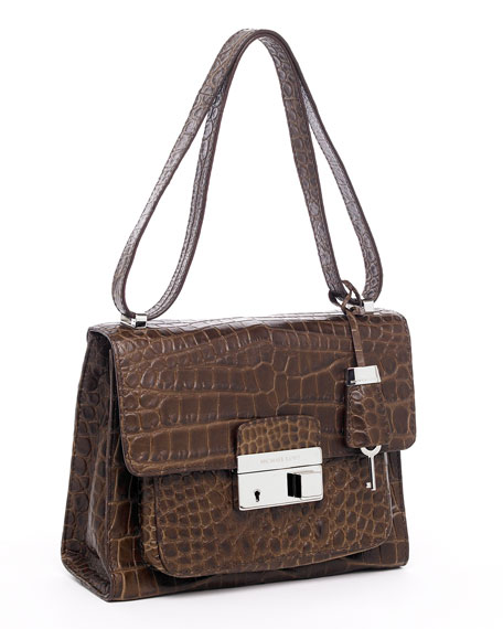 Gia Crocodile-Embossed Shoulder Bag, Coffee