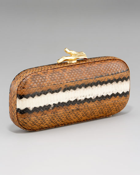 Lytton Striped Snake-Print Minaudiere