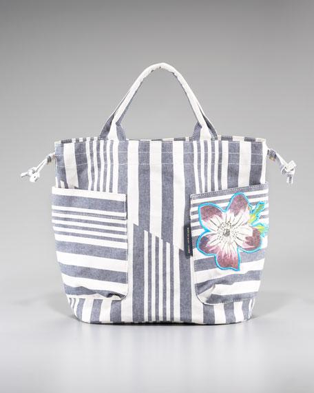 Striped Cotton Bucket Bag