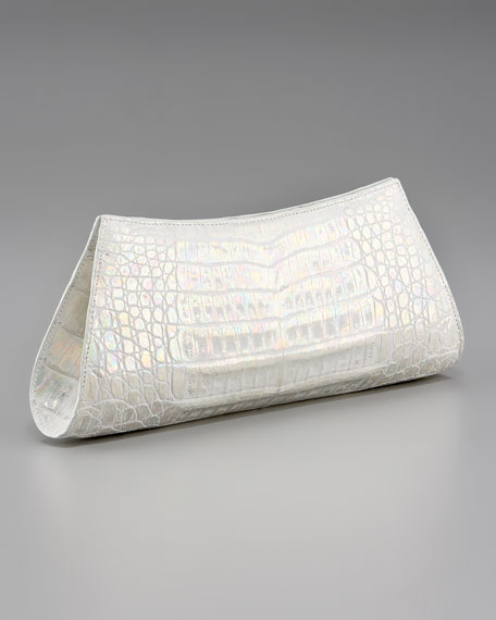 Metallic Crocodile Trapezoid Clutch