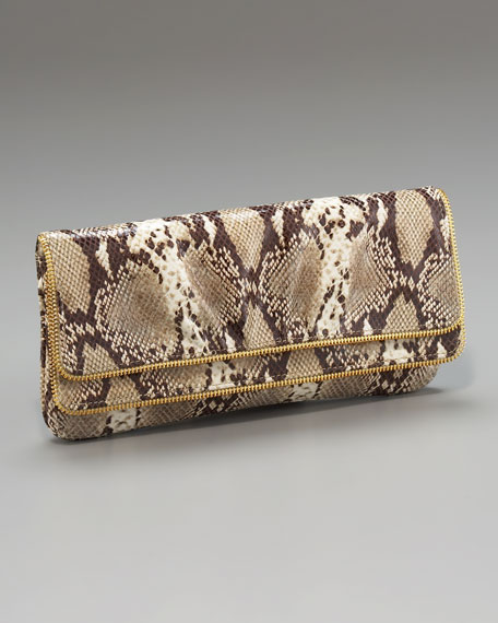 Allie Python-Embossed Clutch
