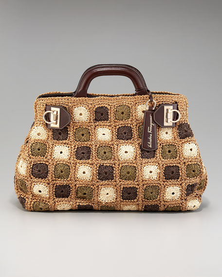 Patterned Raffia Satchel