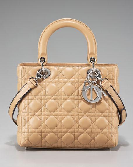 Lady Dior Contrast-Strap Tote, Medium