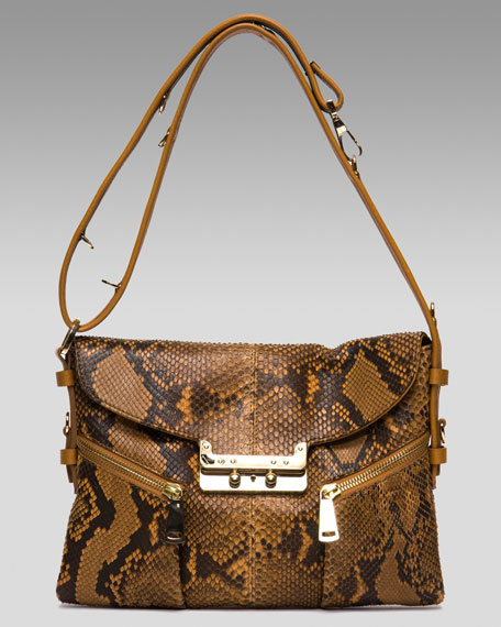Vee Mail Small Python Shoulder Bag