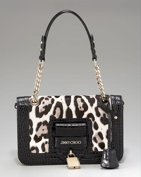 Gwen Pony-Croc Flap Shoulder Bag, Small