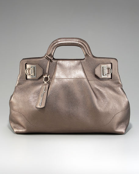 Soft East-West Metallic Tote
