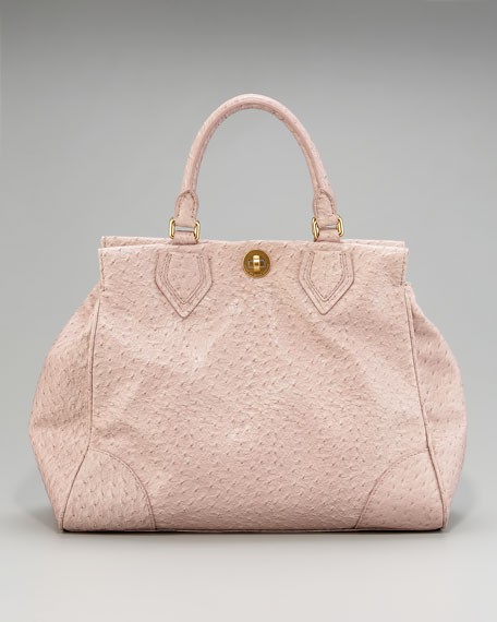 Lucy Ostrich-Embossed Satchel
