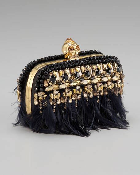 Feather-Fringe Skull-Clasp Clutch