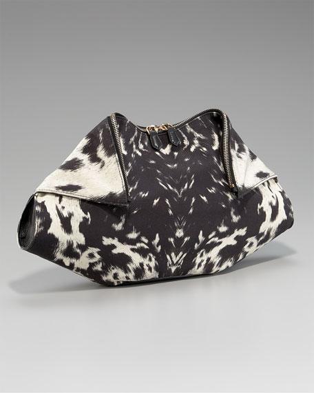 De-Manta Printed Hair Calf Clutch