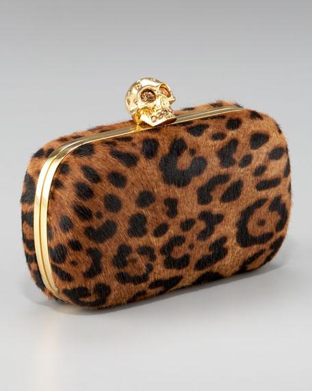 Leopard-Print Calf Hair Box Clutch