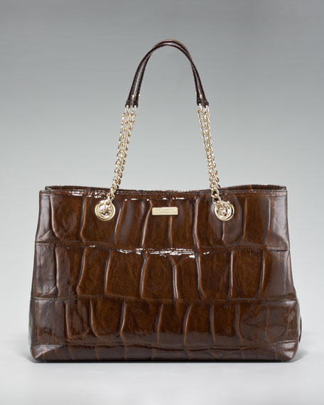 crocodile-embossed helena shoulder bag