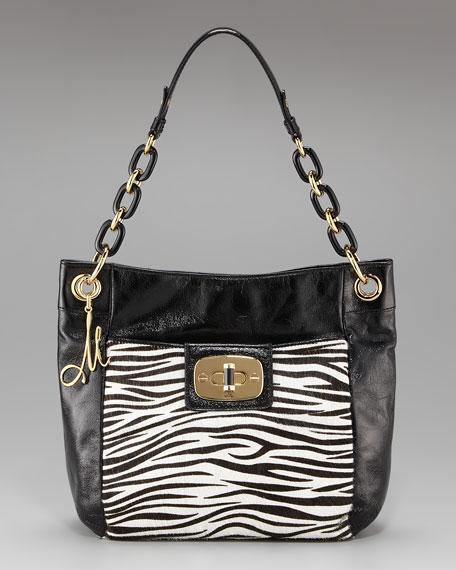 Penelope Zebra-Print Calf Hair Bag