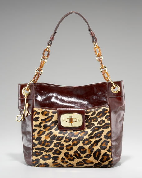 Penelope Patent Leather and Calf Hair Tote