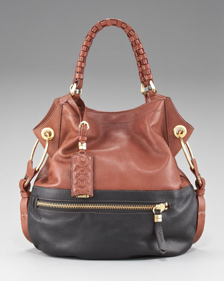 Sydney Colorblock Shoulder Bag, Black/Brown