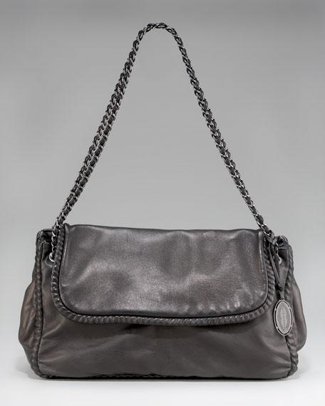 Nina Chain-Strap Shoulder Bag, Black