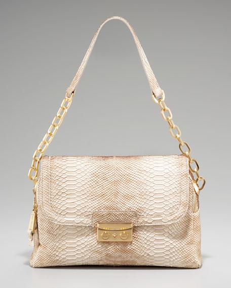 Audrey Snake-Embossed Shoulder Bag