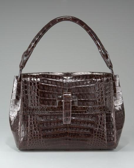 Crocodile Flap-Top Shoulder Bag