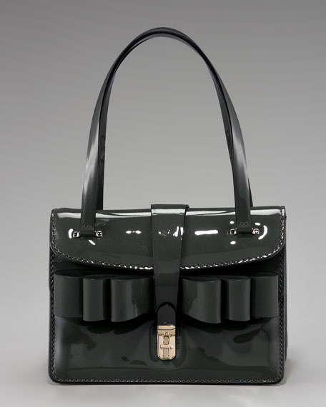 Patent-Leather Bow Bag