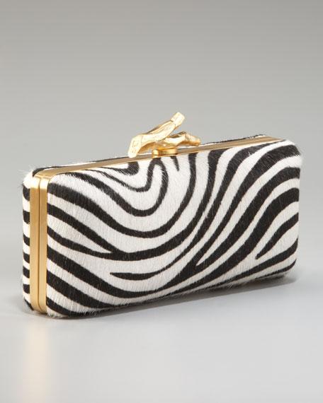 Tonda Zebra-Print Calf Hair Clutch