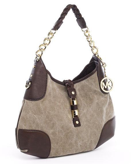 Greenwich Large Shoulder Bag, Hemp/Mocha