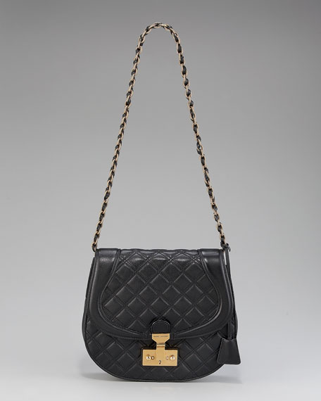 Saffron Flap-Front Quilted Saddle Bag