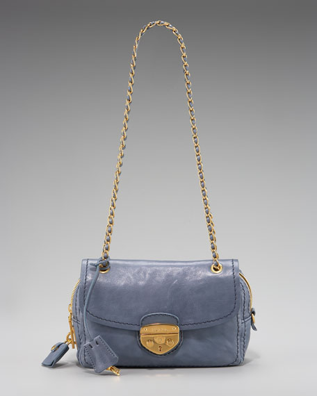 Glace Calf Push-Lok Chain Shoulder Bag, Avio