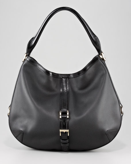 Perforated Leather Hobo Bag, Medium