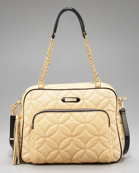 Lizard-Embossed Leather Satchel