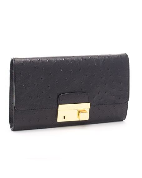 Gia Ostrich-Embossed Leather Clutch, Black
