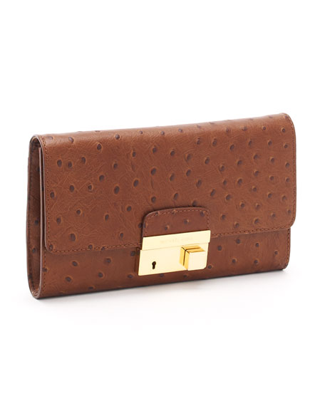 Gia Ostrich-Embossed Leather Clutch, Cinnamon