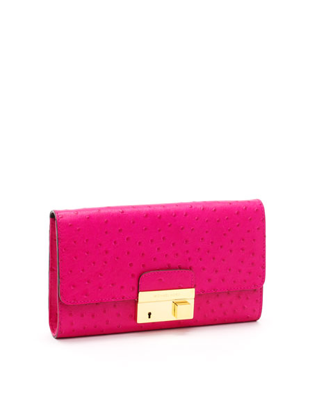 Gia Ostrich-Embossed Leather Clutch, Neon Pink