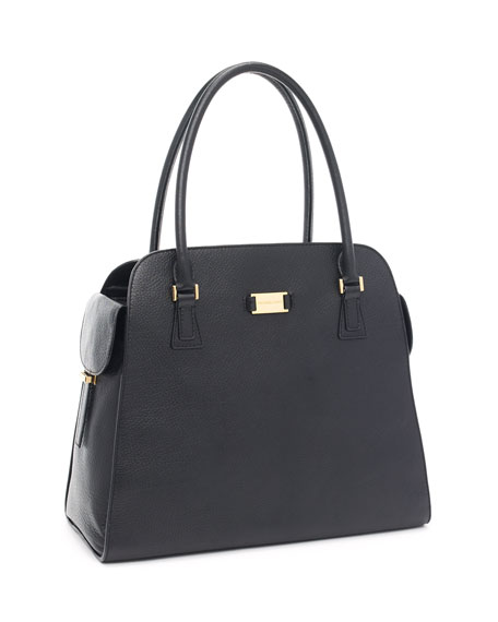 Gia Leather Satchel, Black