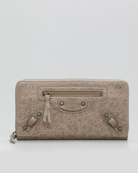Classic Continental Zip Wallet, Gris Poivre