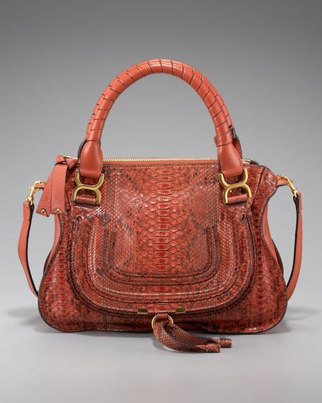 Marcie Python Shoulder Bag, Small