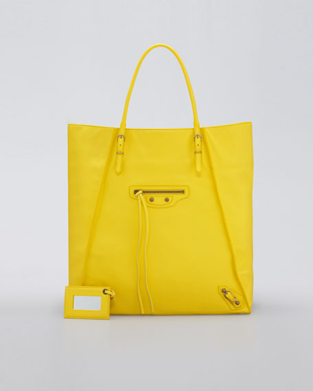 Papier Leather Basket Tote Bag, Mimosa
