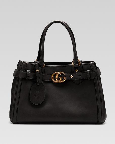 GG Running Medium Tote, Black Leather