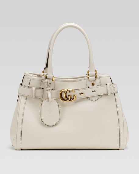GG Running Medium Tote, White Leather